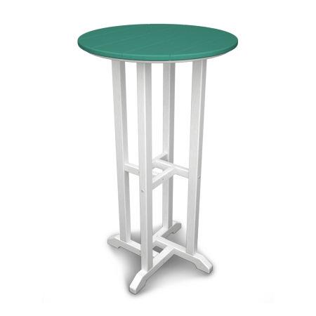 """24"""" Round Bar Table in White Frame / Aruba"""