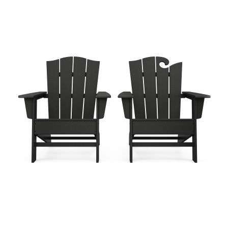 Wave 2-Piece Adirondack Chair Set with The Crest Chair in Black