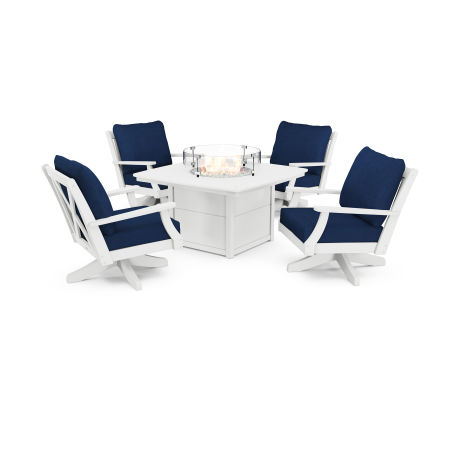 Braxton 5-Piece Deep Seating Swivel Conversation Set with Fire Pit Table in White / Navy