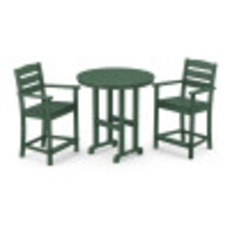 Lakeside 3-Piece Round Counter Arm Chair Set in Green