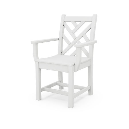 Chippendale Dining Arm Chair in White