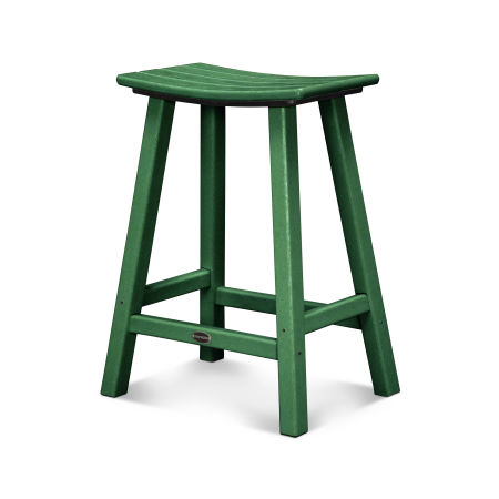 """Traditional 24"""" Saddle Bar Stool in Green"""