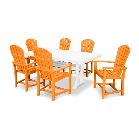 Palm Coast 7 Piece Dining Set in Tangerine