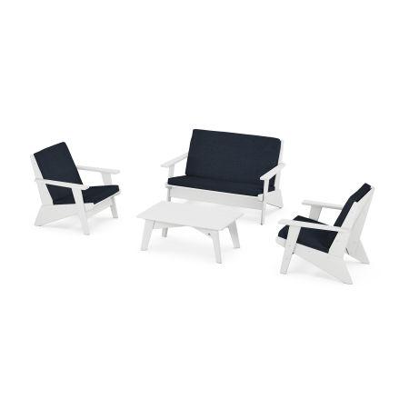 Riviera Modern Lounge 4-Piece Set in White / Marine Indigo