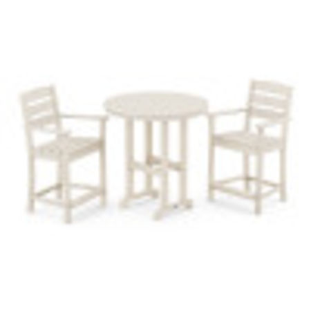 Lakeside 3-Piece Round Counter Arm Chair Set in Sand
