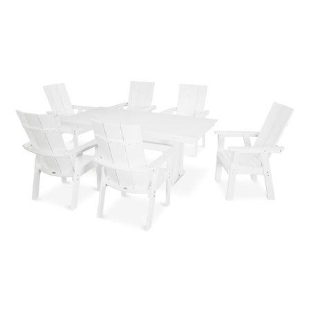 Modern Adirondack 7-Piece Farmhouse Dining Set in White