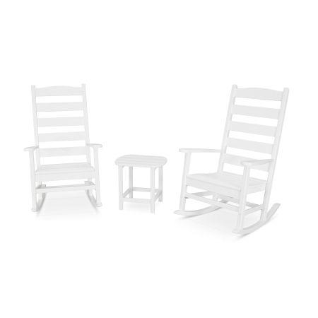 Shaker 3-Piece Porch Rocking Chair Set in White