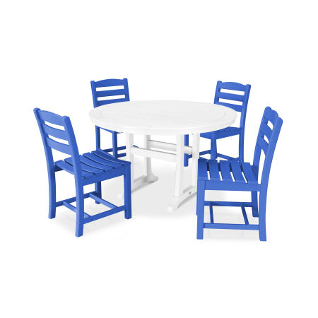 La Casa Café 5 Piece Side Chair Dining Set in Pacific Blue