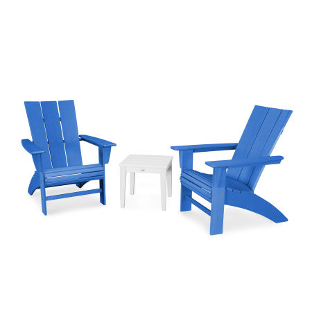 Modern 3-Piece Curveback  Adirondack Set in Vintage Pacific Blue / Vintage White