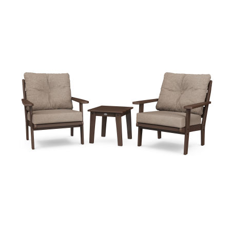Lakeside 3-Piece Deep Seating Chair Set in Mahogany / Spiced Burlap