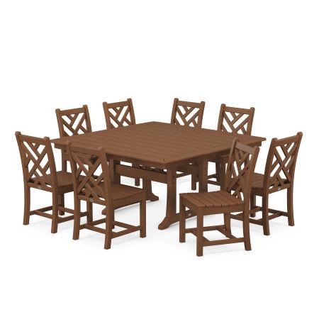 Chippendale 9-Piece Farmhouse Trestle Dining Set in Teak