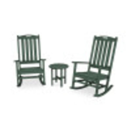 Nautical 3-Piece Porch Rocking Chair Set in Green