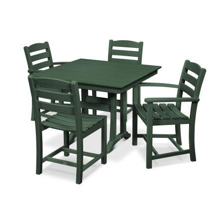 La Casa Café 5-Piece Farmhouse Trestle Dining Set in Green