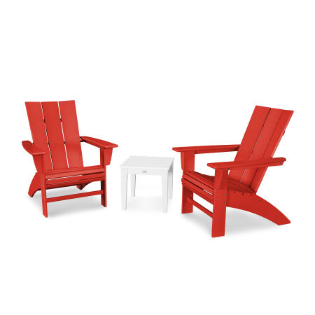 Modern 3-Piece Curveback  Adirondack Set in Sunset Red / White