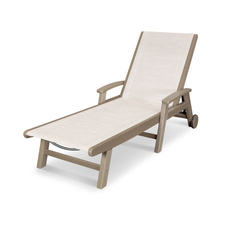 Coastal Chaise with Wheels in Vintage Sahara / Parchment Sling