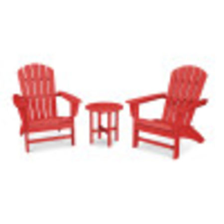 Nautical 3-Piece Adirondack Set in Sunset Red