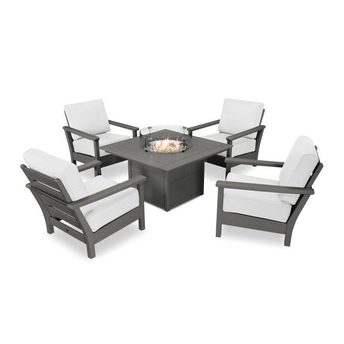Harbour 5-Piece Conversation Set with Fire Pit Table
