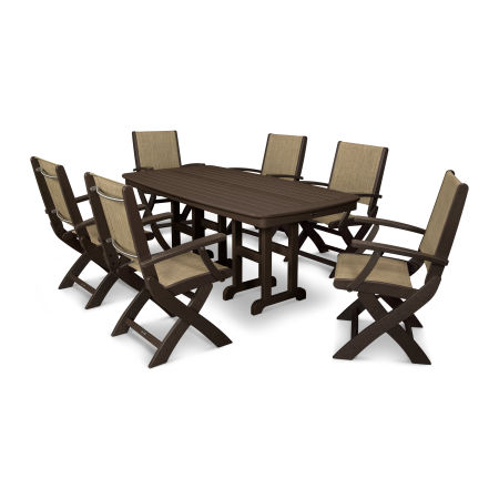 Coastal 7-Piece Dining Set in Mahogany / Burlap Sling