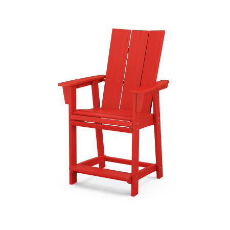 Modern Adirondack Counter Chair in Sunset Red