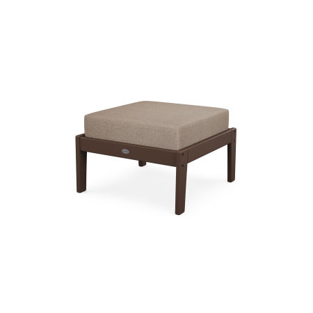 Lakeside Deep Seating Ottoman in Mahogany / Spiced Burlap