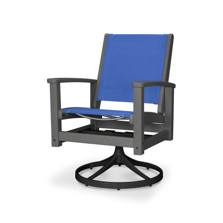 Coastal Swivel Rocking Chair in Textured Black / Slate Grey / Royal Blue Sling