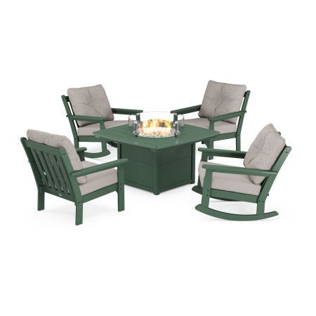 Vineyard 5-Piece Deep Seating Rocking Chair Conversation Set with Fire Pit Table in Green / Weathered Tweed