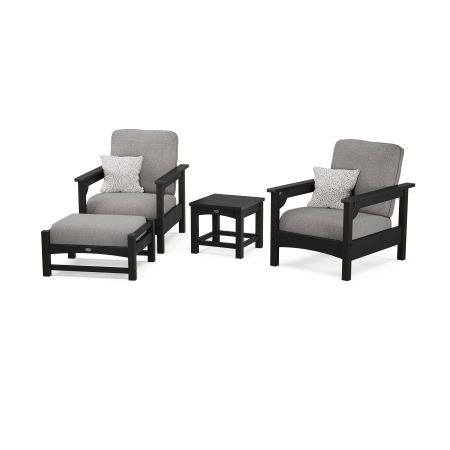 Club 4-Piece Deep Seating Set in Black / Grey Mist