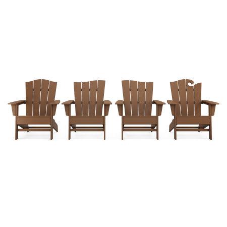 Wave Collection 4-Piece Adirondack Chair Set in Teak