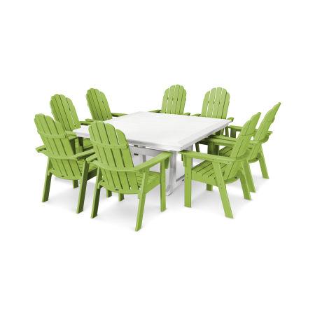 Vineyard Adirondack 9-Piece Nautical Trestle Dining Set in Lime / White