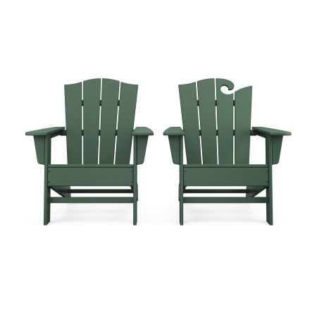 Wave 2-Piece Adirondack Chair Set with The Crest Chair in Green