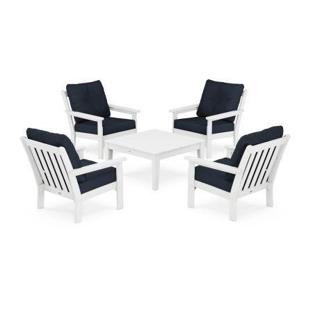 Vineyard 5-Piece Deep Seating Conversation Set in White / Marine Indigo