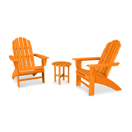 Vineyard 3-Piece Curveback Adirondack Set in Vintage Tangerine
