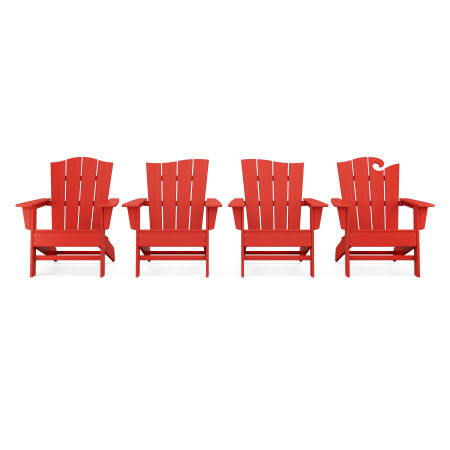 Wave Collection 4-Piece Adirondack Chair Set in Sunset Red