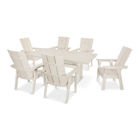 Modern Adirondack 7-Piece Farmhouse Dining Set in Sand
