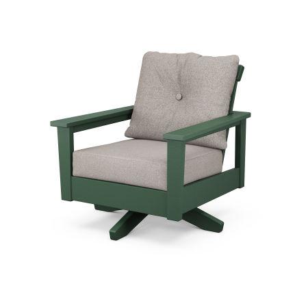 Prescott Deep Seating Swivel Chair in Green / Weathered Tweed