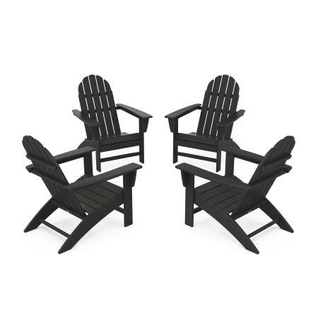 Vineyard 4-Piece Adirondack Conversation Set in Black