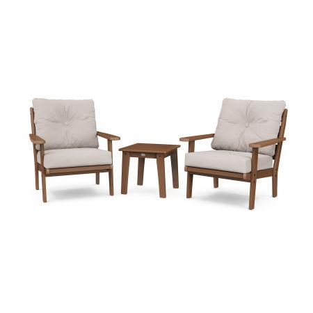Lakeside 3-Piece Deep Seating Chair Set in Teak / Dune Burlap