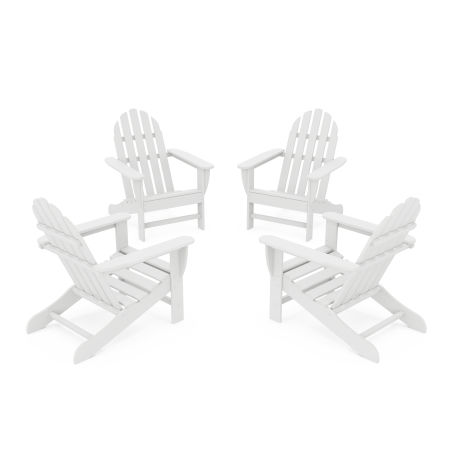 4-Piece Classic Adirondack Conversation Set in White