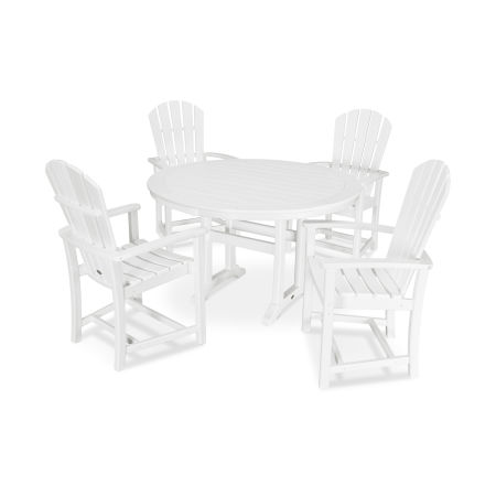 5 Piece Palm Coast Dining Set in White