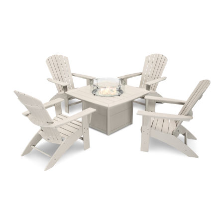 Nautical Curveback Adirondack 5-Piece Conversation Set with Fire Table in Sand
