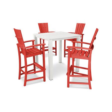 Quattro 5-Piece Bar Set in Sunset Red
