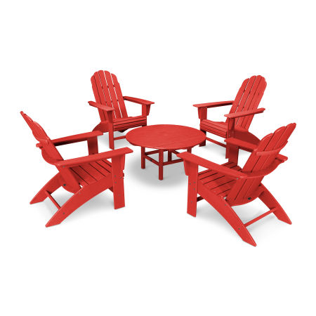 Vineyard 5-Piece Oversized Adirondack Set in Vintage Sunset Red