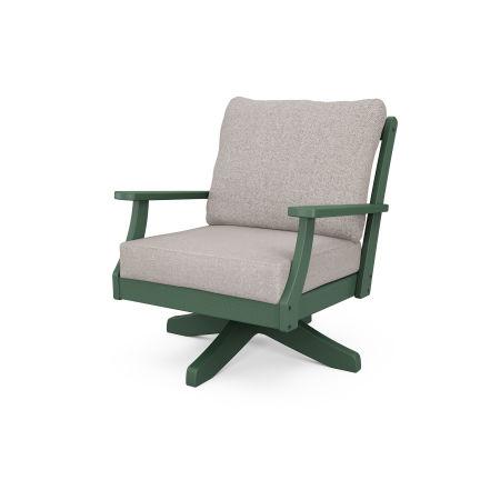 Braxton Deep Seating Swivel Chair in Green / Weathered Tweed