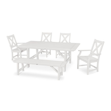Braxton 6-Piece Rustic Farmhouse Arm Chair Dining Set with Bench in White
