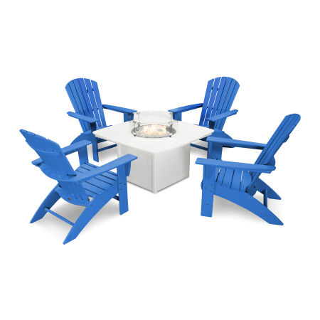 Nautical Curveback Adirondack 5-Piece Conversation Set with Fire Table in Pacific Blue