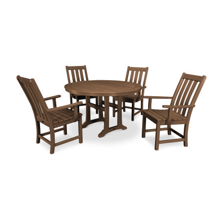 Vineyard 5-Piece Nautical Trestle Dining Set in Teak