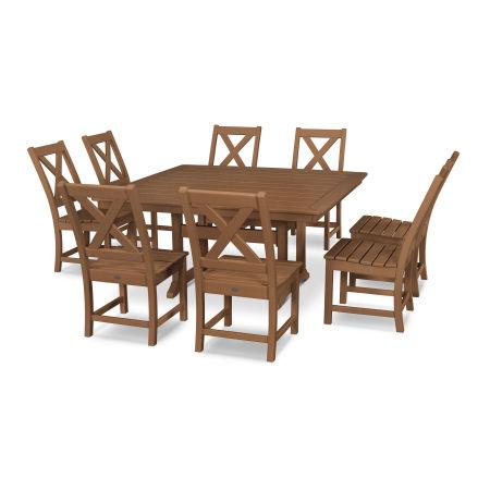 Braxton 9-Piece Nautical Trestle Dining Set in Teak