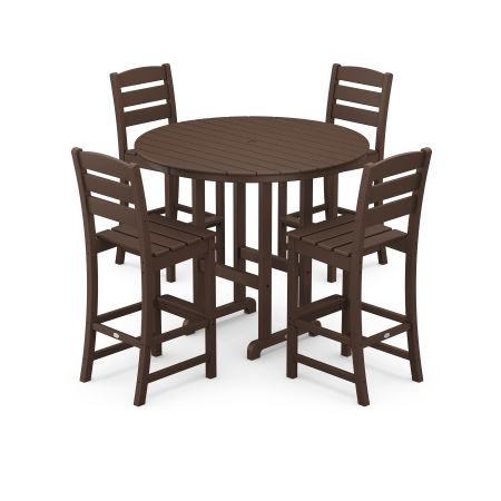 Lakeside 5-Piece Round Bar Side Chair Set in Mahogany