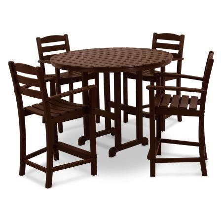 La Casa Café 5-Piece Counter Set in Mahogany