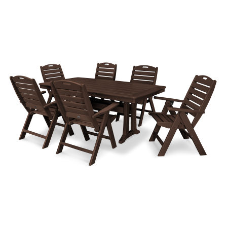 7 Piece Nautical Dining Set in Mahogany